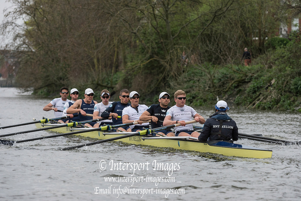 London. UNITED KINGDOM.  160th BNY Mellon Boat Race on the Championship Course, River Thames, Putney/Mortlake.  Thursday  03/04/2014    [Mandatory Credit. Intersport Images]<br /> <br /> Oxford University<br /> <br /> Bow, Storm Uru, 2, Tom Watson, 3, Karl Hudspith, 4, Thomas Swartz, 5, Malcolm Howard, 6, Michael Di Santo, 7, Sam O'Connor, Stroke, Constantine Louloudis, Cox, Laurence Harvey
