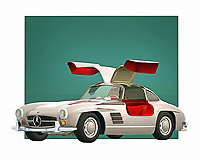 Mercedes is a name that brings to mind passion and intensity. This digital painting from Jan Keteleer can take you back to the glory days of one of the greatest names in the history of automobiles. This stunning car is a great example of a bygone era, to be sure. .<br />