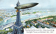 Alberto Santos-Dumont (1873-1932) Brazilian aviation pioneer. Here in his airship (dirigible) No 6 rounding the Eiffel Tower, Paris, while winning the Deutsch Prize, 19 October 1901. From series of postcards on aviation published c1910. Chromolithograph.