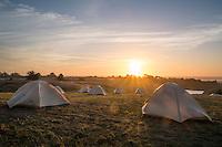 Backroads Tents at Chanslor Ranch During Sunset, Bodega Bay, California
