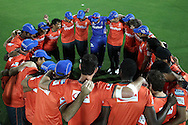 Rajasthan Royals huddle before they warm up during the first semi-final match of the Karbonn Smart Champions League T20 (CLT20) 2013 between The Rajasthan Royals and the Chennai Superkings held at the Sawai Mansingh Stadium in Jaipur on the 4th October 2013<br /> <br /> Photo by Shaun Roy-CLT20-SPORTZPICS<br /> <br /> Use of this image is subject to the terms and conditions as outlined by the CLT20. These terms can be found by following this link:<br /> <br /> http://sportzpics.photoshelter.com/image/I0000NmDchxxGVv4