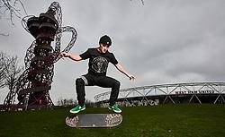 Alex Decunha during the Street League Skateboarding World Tour media launch at the ArcelorMittal Orbit, London.
