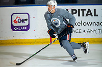 KELOWNA, BC - SEPTEMBER 22:  Evan Bouchard #75 of the Edmonton Oilers skates during practice at Prospera Place on September 22, 2019 in Kelowna, Canada. (Photo by Marissa Baecker/Shoot the Breeze)