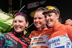 Gent Wevelgem top three: Chantal Blaak (middle), Lisa Brennauer (left), Lucinda Brand (right)- Women's Gent Wevelgem 2016, a 115km UCI Women's WorldTour road race from Ieper to Wevelgem, on March 27th, 2016 in Flanders, Belgium.