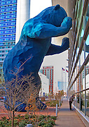 Of all the many outdoor art exhibits in the city of Denver, Colorado, the huge 'Blue Bear' pearing into the windows of the new Colorado Convention Center is the favorite of many visitors.