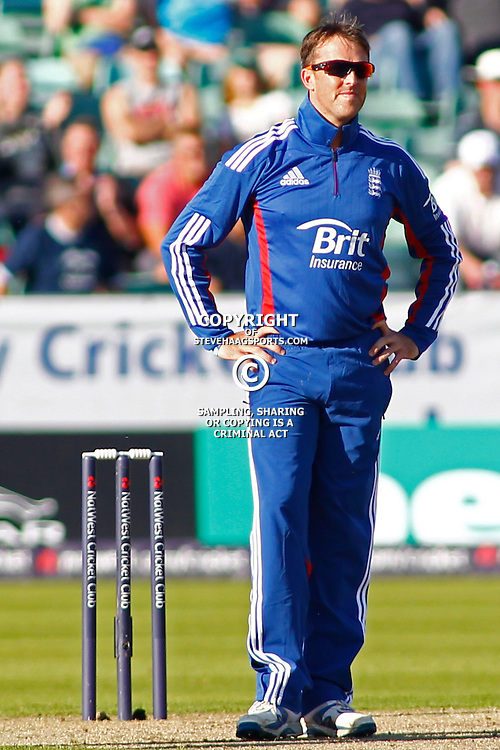 08/09/2012 Durham, England. Graeme Swann with his hands on his hips after being hit for four runs during the 1st Nat West t20 cricket match between  England and South Africa and played at Emirate Riverside Cricket Ground: Mandatory credit: Mitchell Gunn