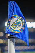 A general view of the Chelsea corner flag inside Stamford Bridge Stadium prior to the Premier League match between Chelsea and Aston Villa at Stamford Bridge, London, England on 4 December 2019.