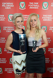CARDIFF, WALES - Monday, October 8, 2012: Wales' Women's Player of the Year Jessica Fishlock and Young Player of the Year Nadia Lawrence during the FAW Player of the Year Awards Dinner at the National Museum Cardiff. (Pic by David Rawcliffe/Propaganda)