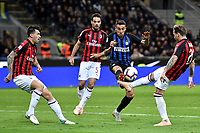 Alessio of AS Romagnoli of AC Milan, Giacomo Bonaventura of AC Milan, Lucas Biglia of AC Milan and Matias Vecino of Internazionale compete for the ball during the Serie A 2018/2019 football match between Fc Internazionale and AC Milan at Giuseppe Meazza stadium Allianz Stadium, Milano, October, 21, 2018 <br />  Foto Andrea Staccioli / Insidefoto