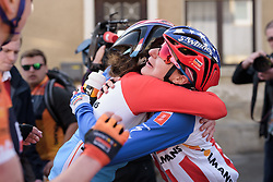 Christine Majerus thanks Megan Guarnier for her efforts on Stage 2 of Festival Elsy Jacobs 2017. A 111.1 km road race on April 30th 2017, starting and finishing in Garnich, Luxembourg. (Photo by Sean Robinson/Velofocus)