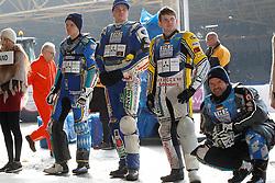 13.03.2016, Assen, BEL, FIM Eisspeedway Gladiators, Assen, im Bild Die deutschen Rennfahrer Guenther Bauer (GER), Luca Bauer (GER), Max Niedermaier (GER), Stefan Pletschacher (GER) // during the Astana Expo FIM Ice Speedway Gladiators World Championship in Assen, Belgium on 2016/03/13. EXPA Pictures &copy; 2016, PhotoCredit: EXPA/ Eibner-Pressefoto/ Stiefel<br /> <br /> *****ATTENTION - OUT of GER*****