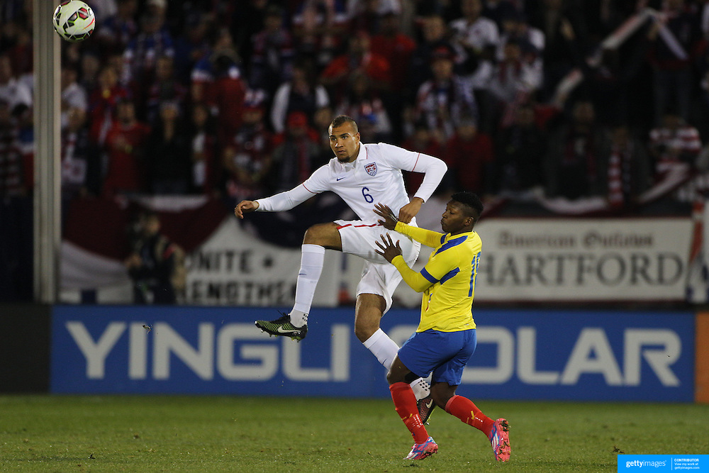 John Brooks, USA, in action during the USA Vs Ecuador International match at Rentschler Field, Hartford, Connecticut. USA. 10th October 2014. Photo Tim Clayton