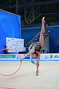 Mazur Viktoria of Ukrain competes during the Rhythmic Gymnastics Women's Individual hoop Qualification of World Cup of Pesaro on April 1, 2016. Viktoria is ritired gymnast born in Luhansk  Ukraine in 1994.