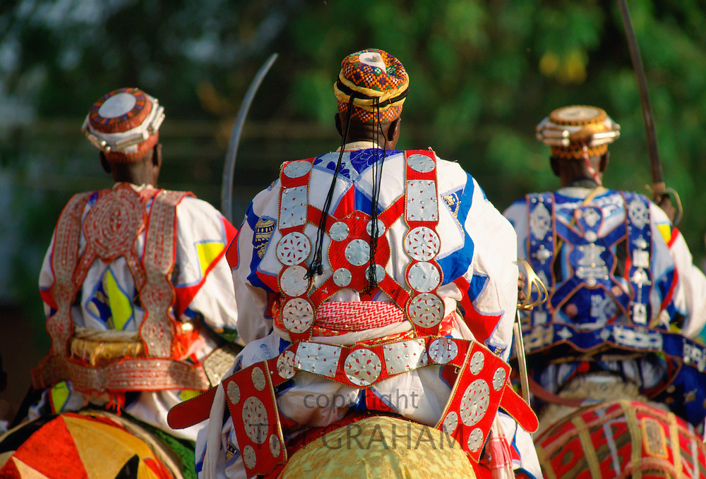 African Chiefs on decorated horses at a durbar in Maiduguri, Nigeria, Africa. RESERVED USE