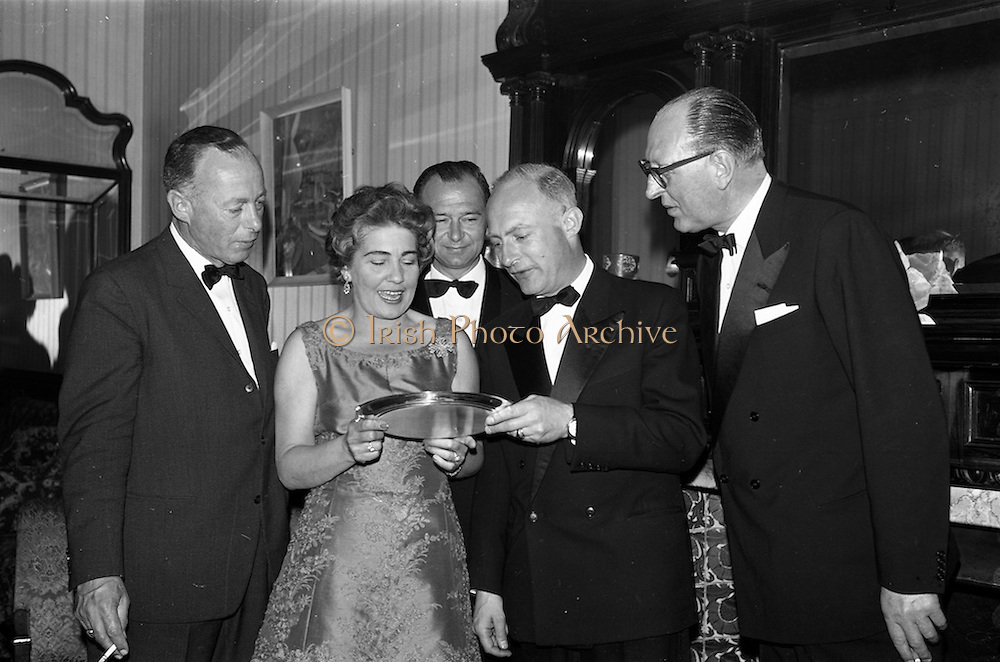 08/05/1964<br /> 05/08/1964<br /> 08 May 1964<br /> Reception and buffet dinner-dance for 5th Annual Tara Cup Rotterdam - Dublin Air Rally given by J.H. Van Anrooy at the Glencormac House Hotel, Co. Wicklow. At the event were (l-r): Mr. A. Schoemakers, of Hilversum, Holland, winner of the Air Rally; Mrs J.H. Van Anrooy; Mr. J.H. Van Anrooy, Kilmacanogue, Co. Wicklow, host and doner of the Tara Cup; Mr. Renne de Monchy of Rotterdam and Mr. R. Uges, President of the Hague Aero Club.