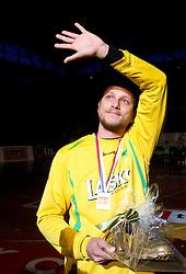 Aljosa Rezar of Celje  at farewell ceremony  after the handball match between RK Celje Pivovarna Lasko and Trimo Trebnje of last Round of 1st Slovenian Handball league, on May 27, 2011 in Arena Zlatorog, Celje, Slovenia. Celje defeated Trimo 32-28 and win 3rd place in Slovenian National Championship. (Photo By Vid Ponikvar / Sportida.com)