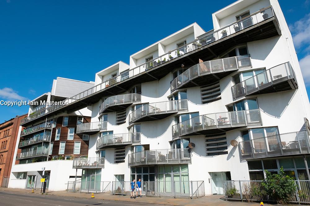 Modern apartment block on Greendyke Street overlooking Glasgow Green park in East End of Glasgow, Scotland,UK.