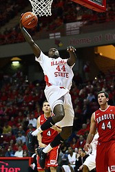 04 February 2012:  Johnny Hill completes a baseline drive with a reverse lay up during an NCAA Missouri Valley Conference mens basketball game where the Bradley Braves lost to the Illinois State Redbirds 78 - 48 in Redbird Arena, Normal IL