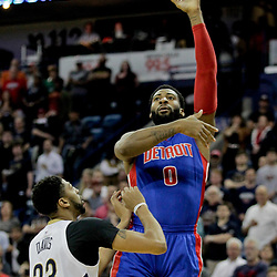 Mar 1, 2017; New Orleans, LA, USA; Detroit Pistons center Andre Drummond (0) shoots over New Orleans Pelicans forward Anthony Davis (23) during the first quarter of a game at the Smoothie King Center. Mandatory Credit: Derick E. Hingle-USA TODAY Sports