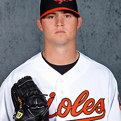 February 26, 2011; Sarasota, FL, USA; Baltimore Orioles starting pitcher Zach Britton (53) poses during photo day at Ed Smith Stadium.  Mandatory Credit: Derick E. Hingle