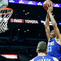 13 January 2018: LA Clippers forward Wesley Johnson (33) goes for the dunk during the LA Clippers 126-105 victory over the Sacramento Kings, at the Staples Center, Los Angeles, California, USA.