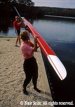 Outdoor recreation, Rowing, Scull, Sculling, Young Adults Move Scull into Lake, Gifford Pinchot State Park, York Co., PA