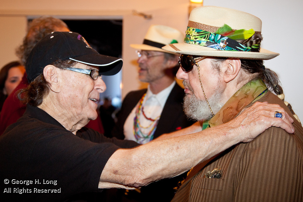 Blaine Kern with Dr John at the Gulf Aid Benefit Concert at Blaine Kern's Mardi Gras World