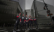 LandRover BAR skippered by Ben Ainslie with team mates David Carr, Nick Hutton, Paul Campbell James, Ed Powys, Matt Cornwell. Shown here in NYC prior to the start of the AC World Series 7th - 8th May.<br /> Image licensed to Lloyd Images