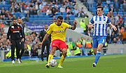 Watford Troy Deeney crosses the ball during the Sky Bet Championship match between Brighton and Hove Albion and Watford at the American Express Community Stadium, Brighton and Hove, England on 25 April 2015. Photo by Phil Duncan.
