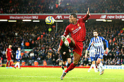 Liverpool midfielder Georginio Wijnaldum (5) on the attack during the Premier League match between Liverpool and Brighton and Hove Albion at Anfield, Liverpool, England on 30 November 2019.