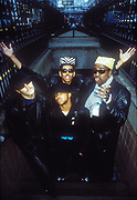 Digital Underground coming up some steps, New York, U.S.A, 1989.