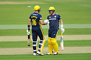 Aiden Markram and Sam Northeast of Hampshire during the Royal London One Day Cup match between Hampshire County Cricket Club and Middlesex County Cricket Club at the Ageas Bowl, Southampton, United Kingdom on 23 April 2019.