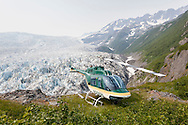 Pathfinder aviation's Bell 206 Jet Ranger doing remote operations near a glacier in Alaska.