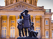 29 OCTOBER 2019 - DES MOINES, IOWA: A dusting of snow on the Pioneer Statue at the Iowa State Capitol. An unseasonably early dusting of snow, less than 1 inch, blanketed the Des Moines area Tuesday morning. The snow did not accumulate on roads or sidewalks. Des Moines normally gets its first accumulation of snow in mid-November. More snow is expected later this week.               PHOTO BY JACK KURTZ