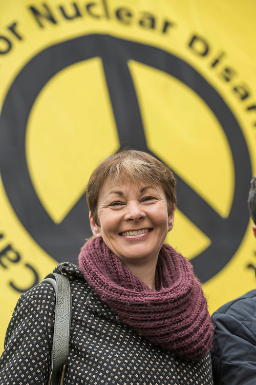 """Caroline Lucas - A CND led national demonstration to protest against Britain's nuclear weapons system: Trident. They state - """"The majority of the British people, including the Labour leader Jeremy Corbyn, oppose nuclear weapons. They are weapons of mass destruction, they don't keep us safe and they divert resources from essential spending."""" The march from Hyde park to Trafalgar Square was supported by Friends of the Earth, the Green party, Greenpeace, the PCS Union, the Quakers, the Stop the War Coalition, War on Want amongst amny others."""