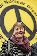 "Caroline Lucas - A CND led national demonstration to protest against Britain's nuclear weapons system: Trident. They state - ""The majority of the British people, including the Labour leader Jeremy Corbyn, oppose nuclear weapons. They are weapons of mass destruction, they don't keep us safe and they divert resources from essential spending."" The march from Hyde park to Trafalgar Square was supported by Friends of the Earth, the Green party, Greenpeace, the PCS Union, the Quakers, the Stop the War Coalition, War on Want amongst amny others."