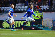 GOAL Joe Thompson celebrates opening the scoring 1-0 during the EFL Sky Bet League 1 match between Rochdale and Scunthorpe United at Spotland, Rochdale, England on 10 December 2016. Photo by Daniel Youngs.