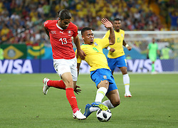 ROSTOV-ON-DON, June 17, 2018  Gabriel Jesus (R front) of Brazil vies with Ricardo Rodriguez of Switzerland during a group E match between Brazil and Switzerland at the 2018 FIFA World Cup in Rostov-on-Don, Russia, June 17, 2018. (Credit Image: © Li Ming/Xinhua via ZUMA Wire)