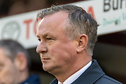 Stoke City manager Michael O'Neill before the EFL Sky Bet Championship match between Barnsley and Stoke City at Oakwell, Barnsley, England on 9 November 2019.