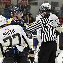 TRENTON, - Feb 9, 2016 -  Ontario Junior Hockey League game action between Whitby and Trenton at the Duncan Memorial Gardens, ON. OHA Linesman Murray during the third period<br /> (Photo by Amy Deroche / OJHL Images)