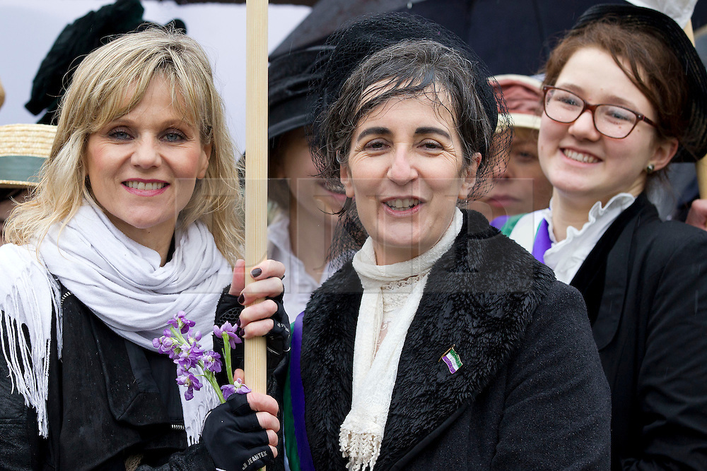 © Licensed to London News Pictures. 08/03/2013. London, UK. Linda Barker (L), Dr Helen Pankhurst, the granddaughter of suffragette Sylvia Pankhurst (C) and daughter Laura Pankhurst (R) are seen in period dress at a press call at the end of a walk to Parliament taking place on International Women's Day in London today (08/03/2013) . The end of the walk, which coincides with International Women's Day, launches poverty charity Care International's 'Walk in Her Shoes Campaign', which encourages women to put themselves the shoes of women in the developing world. Photo credit: Matt Cetti-Roberts/LNP