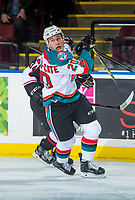 KELOWNA, CANADA - MARCH 7:  Conner Bruggen-Cate #20 of the Kelowna Rockets skates against the Vancouver Giants on March 7, 2018 at Prospera Place in Kelowna, British Columbia, Canada.  (Photo by Marissa Baecker/Shoot the Breeze)  *** Local Caption ***