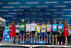 The jersey winners of both the men's and the women's race join on the podium after the fourth, 70 km road race stage of the Amgen Tour of California - a stage race in California, United States on May 22, 2016 in Sacramento, CA.