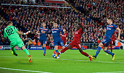LIVERPOOL, ENGLAND - Wednesday, October 24, 2018: Liverpool's Sadio Mane scores the fourth goal during the UEFA Champions League Group C match between Liverpool FC and FK Crvena zvezda (Red Star Belgrade) at Anfield. Liverpool won 4-0. (Pic by David Rawcliffe/Propaganda)