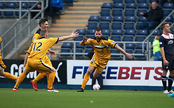 Dumbarton's Garry Fleming cele scoring their first goal.<br /> Half time : Falkirk 1 v 2 Dumbarton, Scottish Championship game played today at the Falkirk Stadium.<br /> &copy;Michael Schofield.