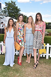 Louise Thompson, Amber Le Bon, Hum Fleming and Sabrina Percy at the Laureus polo Cup at Ham Polo Club, Ham, London, England. 21 June 2018.