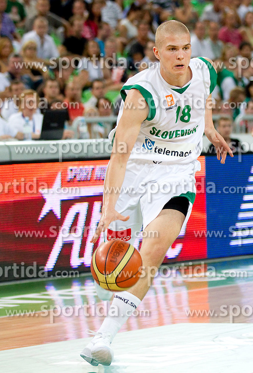 Edo Muric of Slovenia during friendly match before Eurobasket Lithuania 2011 between National teams of Slovenia and Lithuania, on August 24, 2011, in Arena Stozice, Ljubljana, Slovenia. Slovenia defeated Lithuania 88-66. (Photo by Vid Ponikvar / Sportida)