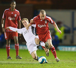 WARRINGTON, ENGLAND - Tuesday, February 26, 2008: Liverpool's Jay Spearing and Manchester United's Sean Evans during the FA Premiership Reserves League (Northern Division) match at the Halliwell Jones Stadium. (Photo by David Rawcliffe/Propaganda)