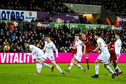 Roberto Firmino of Liverpool shoots - Rogan/JMP - 22/01/2018 - FOOTBALL - Liberty Stadium - Swansea, Wales - Swansea City v Liverpool - Premier League.