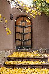 Fall leaves on steps of an adobe home in Santa Fe, NM